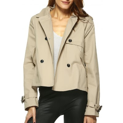 Vintage Double-Breasted Turn Down Collar Loose Trench Jacket