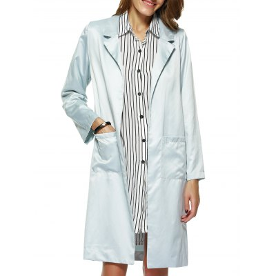 Pure Color Long Trench Coat