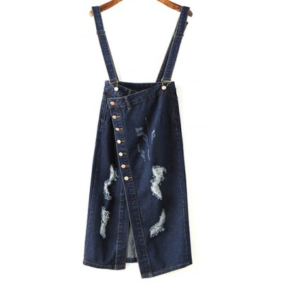 Stylish Button Front Distressed Women's Suspender Skirt