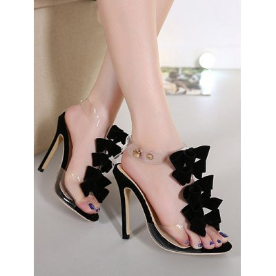 Trendy Transparent Plastic and Bow Design Sandals For Women