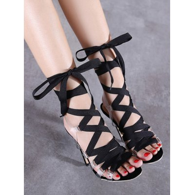 Trendy Transparent and Lace-Up Design Sandals For Women
