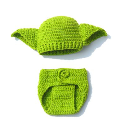 Crochet Green Hat Photography Clothes Set For Baby