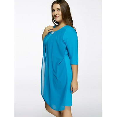 Plus Size Rhinestone Decorated  Overlay DressPlus Size Dresses<br>Plus Size Rhinestone Decorated  Overlay Dress<br><br>Style: Brief<br>Material: Polyester<br>Silhouette: Straight<br>Dresses Length: Knee-Length<br>Neckline: Scoop Neck<br>Sleeve Length: Half Sleeves<br>Pattern Type: Solid<br>With Belt: No<br>Season: Spring,Summer<br>Weight: 0.217kg<br>Package Contents: 1 x Dress