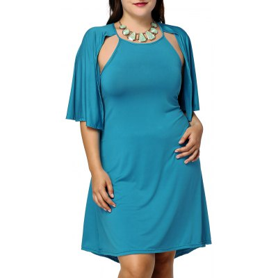 Plus Size Cape Sleeve Solid Color Dress