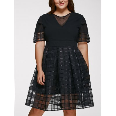 Short Sleeve Plus Size See-Through Dress