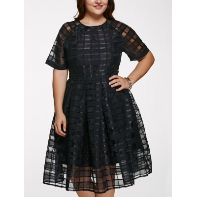 Chic Round Neck Plus Size See-Through Dress