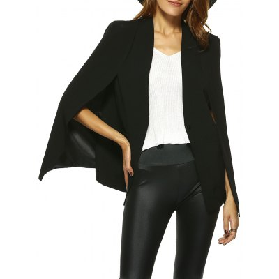 One-Button Cape Blazer