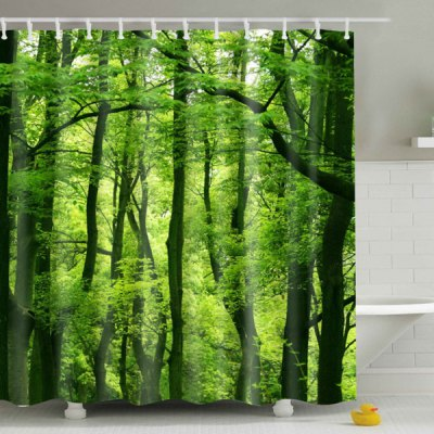 Eyeful Eco-Friendly Green Woods Printing Shower Curtain For Bathroom