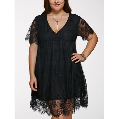 V Neck Plus Size Lace Dress