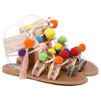 Rome Style Pom Poms and Geometric Pattern Design Sandals For Women