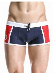 Casual Color Block Drawstring Waistband Design Swimming Trunks For Men