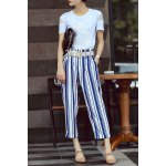 Flower Embroidered T-Shirt and Ninth Stripe Pants