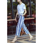 cheap Flower Embroidered T-Shirt and Ninth Stripe Pants