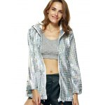 cheap Streetwear Long Sleeve Hooded Metallic Color Plaid Coat