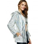 Streetwear Long Sleeve Hooded Metallic Color Plaid Coat deal