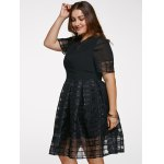 cheap Chic Short Sleeve Plus Size See-Through Dress