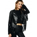 Streetwear Half Sleeve Fringe Black Faux Leather Jacket
