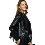 Streetwear Half Sleeve Fringe Black Faux Leather Jacket deal
