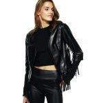 cheap Streetwear Half Sleeve Fringe Black Faux Leather Jacket