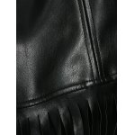 best Streetwear Half Sleeve Fringe Black Faux Leather Jacket