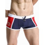 cheap Casual Color Block Drawstring Waistband Design Swimming Trunks For Men