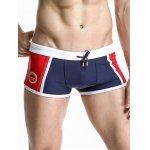 Casual Color Block Drawstring Waistband Design Swimming Trunks For Men deal