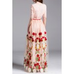 cheap Embroidery Lace Insert Maxi Tulle Dress