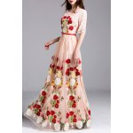 Embroidery Lace Insert Maxi Tulle Dress for sale