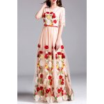Embroidery Lace Insert Maxi Tulle Dress deal