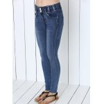 Button Design Mid-Waist Skinny Jeans deal