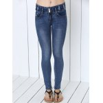 cheap Button Design Mid-Waist Skinny Jeans