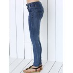 Button Design Mid-Waist Skinny Jeans for sale
