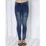 cheap Mid Waist Icons Embellished Spliced Jeans