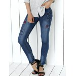 Mid Waist Icons Embellished Spliced Jeans
