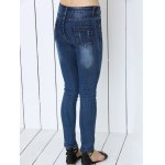 Mid Waist Icons Embellished Spliced Jeans for sale