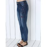 Mid Waist Icons Embellished Spliced Jeans deal