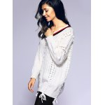 Stripe Lace-Up Crochet Sweater for sale