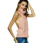 Elegant Women's Turtle Neck Open Back Sweater deal