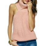 Elegant Women's Turtle Neck Open Back Sweater
