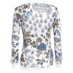 Chic Paisley Print Round Neck Long Sleeve Women's Sweatshirt deal