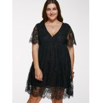 cheap V Neck Plus Size Lace Short Dress With Sleeves