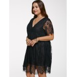 V Neck Plus Size Lace Short Dress With Sleeves deal