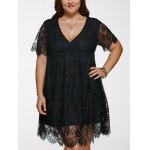 V Neck Plus Size Lace Short Dress With Sleeves