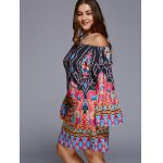 Chic Off-The-Shoulder Plus Size Print Dress for sale