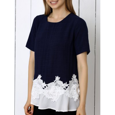 Floral Pattern Spliced Women's T-Shirt