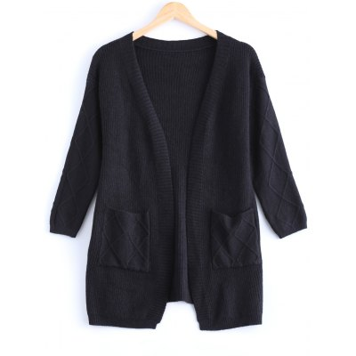 Simple Women's Pure Color Front Pockets Collarless Cardigan