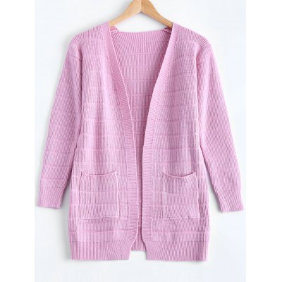 Pure Front Pockets Color Collarless Cardigan