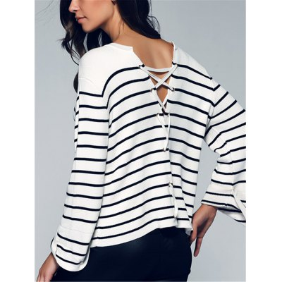 Women's Back Lace-Up Striped Sweater