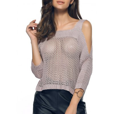 Women's Cold Shoulder Openwork Pure Color Sweater