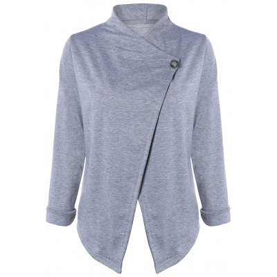Brief Single Button Wrap Sweatershirt For Women